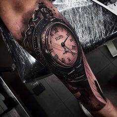Pocket Watch tattoo by @da_ink at The Tattoo Shop in Burleigh Heads, Australia
