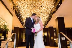 Westin Portland, photo by: Karen Kelly Photography  The happy couple in the WPH lobby