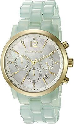e571af8295e Michael Kors Women s Audrina Gold-Tone Crystal-Accented Watch with Resin  Band