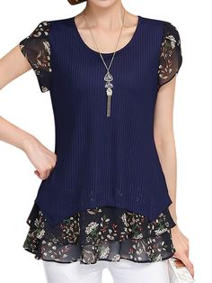 Sewing Blusas Purplish Blue Tiered Plus Size Casual Top - Casual Tops For Women, Blouses For Women, Blouse Styles, Blouse Designs, Look Fashion, Fashion Outfits, Casual Dresses, Casual Outfits, Petal Sleeve