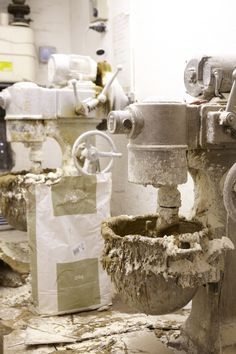 The mixing room. Paste is mixed each day by the Freed of London pointe show Makers who use this to create the block within a pointe shoe.