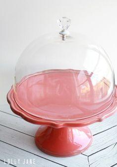 DIY cake stand dome knob handle by @LollyJaneBlog