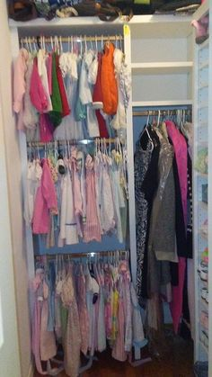 Mom's long items and baby's dresses - with space to spare! Supply Room, Organizing, Organization, Declutter, Baby Dress, Storage Spaces, Design Projects, Dresses, Home Decor