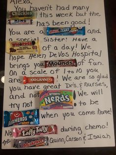 Mom Birthday Crafts, 90th Birthday Gifts, Birthday Gift Baskets, Get Well Gifts, Gifts For Mom, Candy Bar Gifts, Candy Bar Posters, Candy Cards, Amazing Ideas
