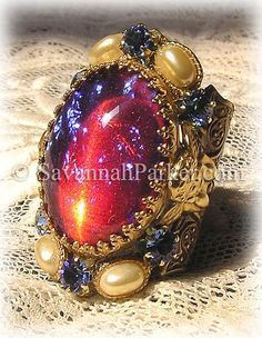 Antique Style Victorian Edwardian Fantasy Dragons Breath Angels Vintage Art Glass Ring