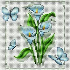 Χειροτεχνήματα: Μπουκέτα με λουλούδια για κέντημα / Cross stitch bouquets of…