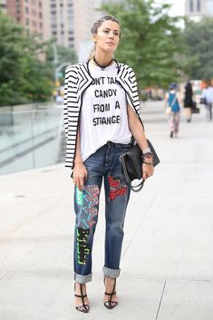striped blazer with slogan shirt, embroidered jeans