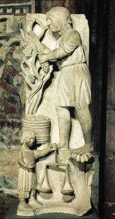 (Benedetto Antelami (attrib.): September: Grape Harvest, marble, c. 1196 (Parma, Baptistery); photo credit: Scala/Art Resource, NY) Costuming: -Chemise -Barbette -Belt of some variety -Potential Crespin on lower girl