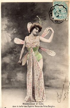 BE303 Carte Photo Vintage Card RPPC Femme Woman Melle D'Iliac Folies Bergere | eBay