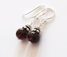 Red Garnet Gemstone Earrings Sterling Silver by SendingLoveGallery, $24.00
