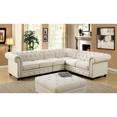 Kick up the style and comfort quotient in your home with the Furniture of America Starken II Upholstered Sectional Sofa . This plush, cushioned sectional. Tufted Sectional Sofa, Fabric Sectional, Corner Sectional, Small Sectional, Blue Sectional, Sectional Furniture, Furniture Chairs, Art Furniture, Outdoor Furniture