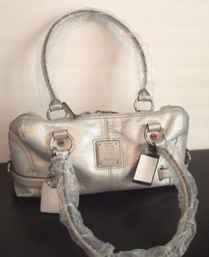 Tignanello Pebble Textured Leather Silver Satchel Shopper Handbag Clutch Key Fob #Tignanello #Handbag