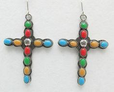 10 Stone Multi Color Cross Earrings