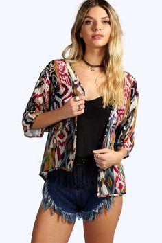 Morgan Mixed Geo Print Woven Kimono