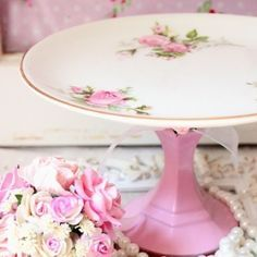 DIY cake stand: painted candlestick + china plate. :) by PaulaBurns