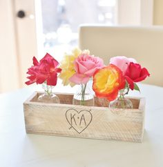 Personalized Planter Box Rustic Chic Wedding Centerpieces Vases Barn Coutry Decor (Item Number 140321) NEW ITEM on Etsy, $21.50