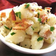 Bacon gives this warm German potato salad recipe a boost of flavor. The vinegar and sugar dressing on this salad has the perfect combination of salty and sweet.