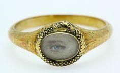 *** A Stunning Georgian Eye & Black Enamel Snake Ring Dated 1836 NO RESERVE ***  $500+