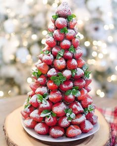 I made a chocolate-covered strawberry Christmas tree and surprised my husband at work with it.  It was a huge hit with his coworkers! I'm showing you how to make your own on the blog. Link in profile at --> @homestoriesatoz. It couldn't be easier. I also have 7 other #christmasdessert ideas by some amazing bloggers linked at the bottom of my post!