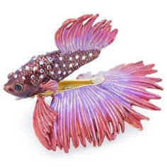 Red & Purple Crowntail Betta Fish Trinket Box