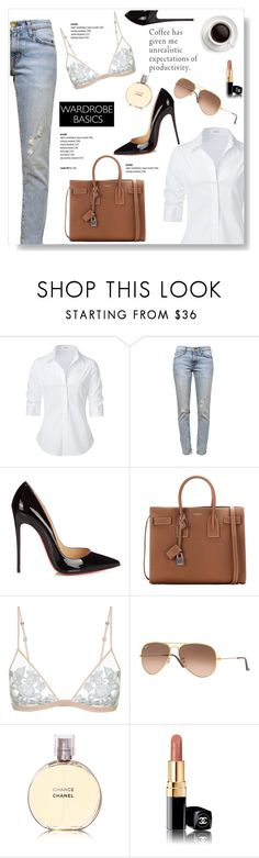 """""""Secrets"""" by viola279 ❤ liked on Polyvore featuring Steffen Schraut, Current/Elliott, Christian Louboutin, Yves Saint Laurent, La Perla, Ray-Ban, Chanel and prettyunderpinnings"""