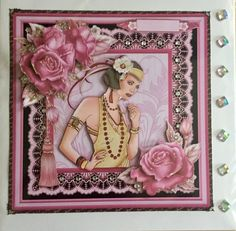 Art Deco Lady in Pink &amp Gold 8x8 Mini Kit &amp Decoupage by Vicki Lindley
