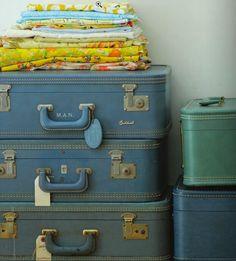 vintage suitcases as storage