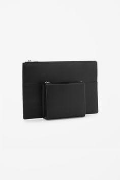 Geometric leather clutch
