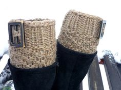 Knit Boot Cuff coffe with milk color wellies boot by IskaCreations