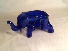 Tiara Exclusive Indiana Glass Cobalt Blue Elephant Dish | eBay