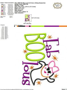 Fab BOO Lous Ghost Halloween Girls 4x4 5x7 by HoopMamaEmbroidery