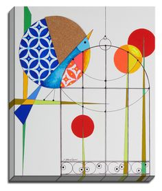 Geo Bird Cage by Dominic Bourbeau Graphic Art on Canvas