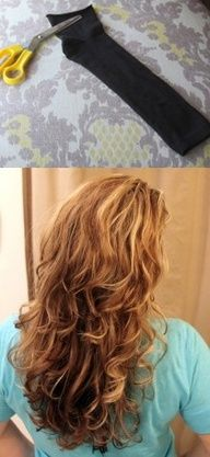 How To Use A Sock To Get Beautiful Curly Hair Without Heat - http://craftideas.bitchinrants.com/how-to-use-a-sock-to-get-beautiful-curly-hair-without-heat/