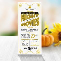 This Halloween Movie Night Invitations/flyer design has a fun and elegant 1920s…