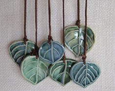 Wall hanging, or Wind Chime, Ceramic Aspen Leaves