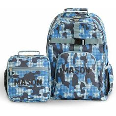 Personalized Playful Print Value Set, Ripstop Camo, Name, Blue