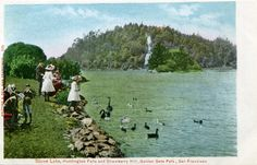 Love this vintage postcard of Strawberry Hill, in the middle of Stow Lake in Golden Gate Park, San Francisco. Used to hike up the hill all the time when I lived nearby.