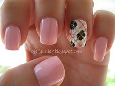 Hand painted - Nail Art Gallery by NAILS Magazine creative-nails Plaid Nail Designs, Plaid Nail Art, Plaid Nails, Nail Polish Designs, Nail Art Designs, Fancy Nails, Love Nails, Pink Nails, Girls Nails