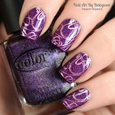 Nail Art By Belegwen: Color Club Wild at Heart with pink stamps