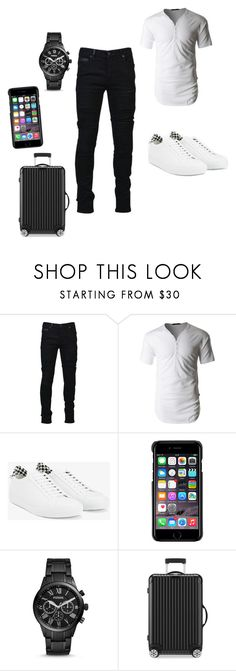 """""""Untitled #1425"""" by tinhinane ❤ liked on Polyvore featuring Marcelo Burlon, LE3NO, Givenchy, County Of Milan, FOSSIL, Rimowa, men's fashion and menswear"""