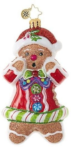 Christopher Radko Just One Bite Gingerbread Man Santa Claus Ornament