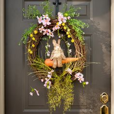 Easter Wreath, Front Door Wreath, Spring Wreath, Easter Bunny Wreath, Wreaths, Grapevine Wreath, Mother's Day Gift, My Door Decor and More by MyDoorDecorandMore on Etsy