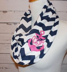 Navy Blue Chevron Infinity Scarf with Pink Anchor Embroidery Monogram Embroidered Summer Spring Beach Beachy Nautical Amy Anne