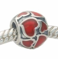 3f436c86d Sterling Silver Red Enamel Heart Charm -fits Pandora, Chamilia & similar  Bracelets -Fabulana Charms