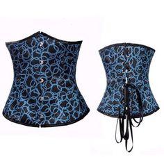 Black Lace UP Underbust Waist Cincher Blue Circle Corset Bustier S M L XL 2XL N32 #Affiliate