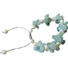 Aquamarine and cultured white Freshwater Pearls Bracelet