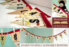 Letters on both sides of pennants and casing at the top to restring into different words.