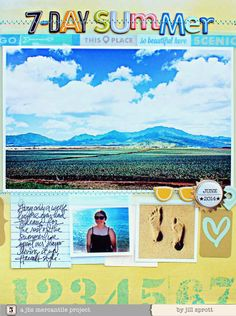 #papercraft #scrapbook #layout.  jbs inspiration - June Mercantile Kits - Jill Sprott - large photo - summer