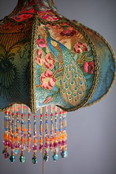 Detail of Bohemian Peacock Vintage Lamp Decor Hand Beaded by Artist and Designer Christine Kilger of Nightshades /explore/victorian/ /explore/peacock/ /explore/bohemian/