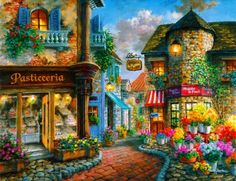 Romantic place - shop, cafe, town, romantic, painting, stone, vacation, restaurant, alley, flowers, sky, nice, summer, street, beautiful, lovely, pretty, village, art